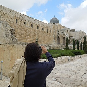 Amy Alcott takes photos and admires the Western Wall.