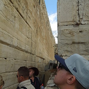 Hunter Mahan admires the Western Wall.