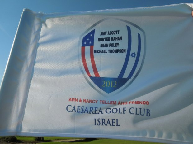 Special flag at the Caesarea Golf Club.