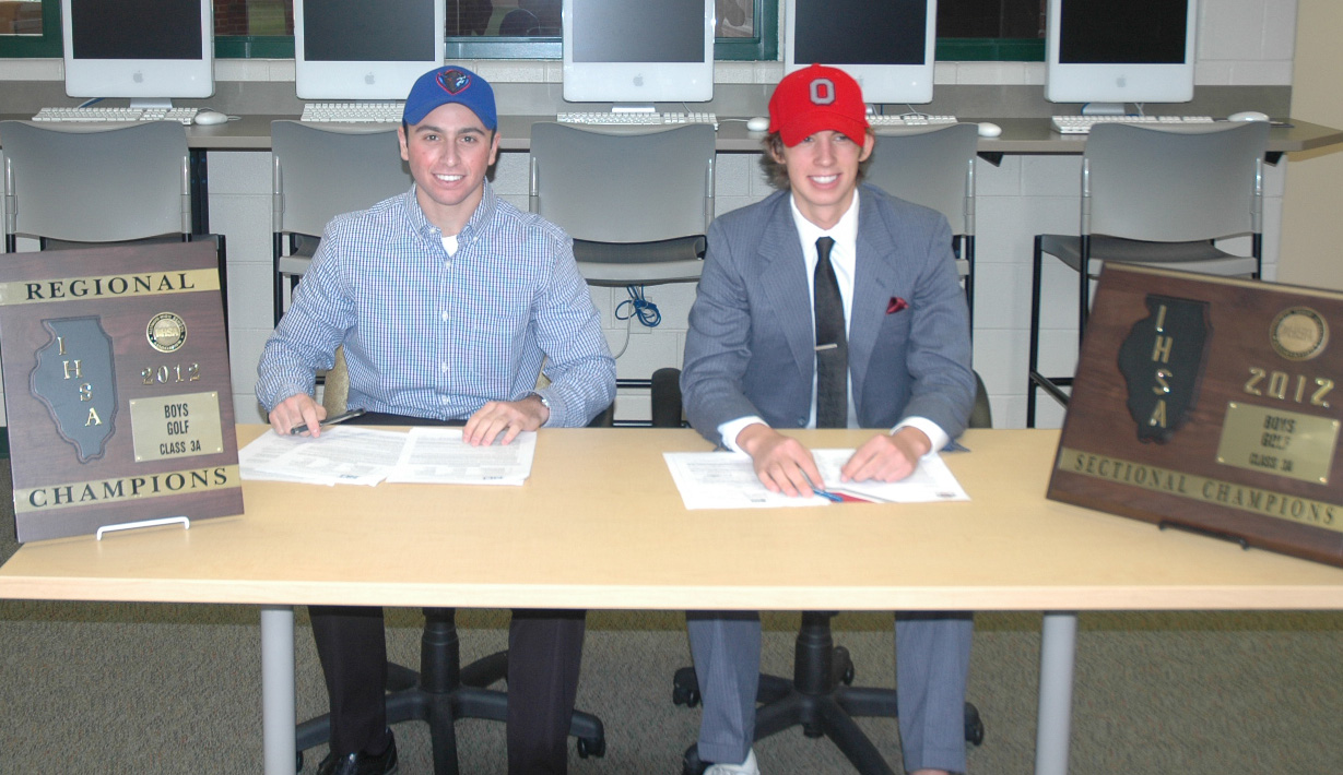 Jonathan Goldstein, left, and Nicholas Jan sign with DePaul and Ohio State, respectively