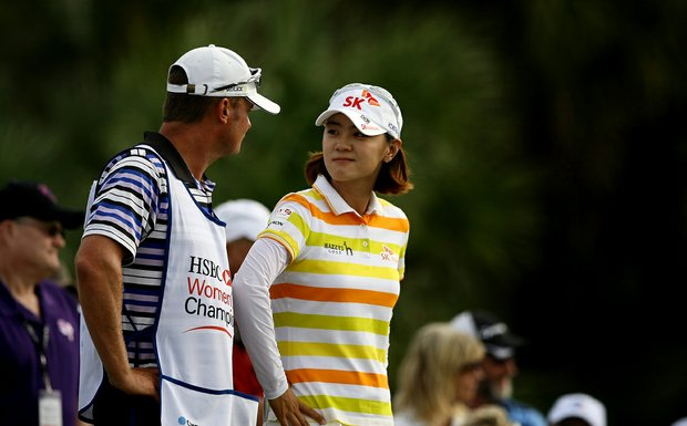 Na Yeon Choi with her caddie Jason Hamilton during the final round of the CME Group Titleholders at Twin Eagles Club. Hamilton who used to be with Yani Tseng has been with Choi for only half the year.