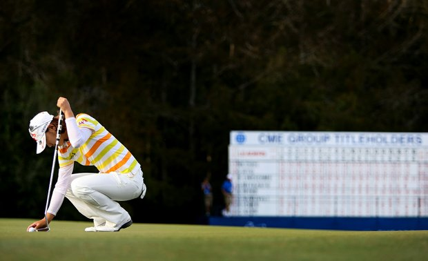 Na Yeon Choi lines up her last putt of the day during the final round of the CME Group Titleholders at Twin Eagles Club.