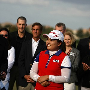 Inbee Park was honored with the Vare Trophy for low scoring average throughout the season during the final round of the CME Group Titleholders at Twin Eagles Club.