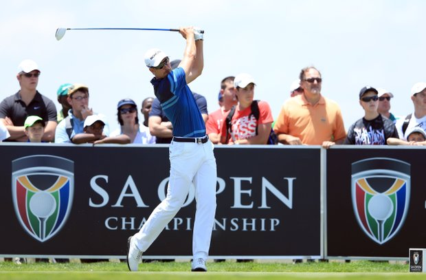 Henrik Stenson tees off on the third hole during the final round of the South African Open Championship.
