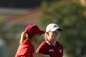 Stacy Lewis and Betsy King celebrate a shot during the ISPS Handa Heroes, a nine-hole, made-for-TV charity event honoring golf philanthropist Dr. Haruhisa Handa, Monday, Nov. 19 at TwinEagles Golf Club in Naples, Fla.