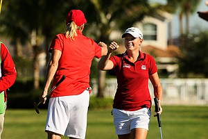 Stacy Lewis and Betsy King during the ISPS Handa Heroes, a nine-hole, made-for-TV charity event honoring golf philanthropist Dr. Haruhisa Handa, Monday, Nov. 19 at TwinEagles Golf Club in Naples, Fla. They won money for their respective charities.