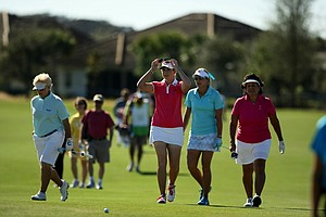 From left, Pat Bradley, Paula Creamer, Lexi Thompson and Nancy Lopez during the ISPS Handa Heroes, a nine-hole, made-for-TV charity event honoring golf philanthropist Dr. Haruhisa Handa, Monday, Nov. 19 at TwinEagles Golf Club in Naples, Fla.