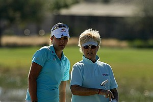Lexi Thompson with her partner Pat Bradley during the ISPS Handa Heroes, a nine-hole, made-for-TV charity event at TwinEagles Golf Club in Naples, Fla.--(Photo by Tracy Wilcox/GOLFWEEK)