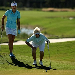 Pat Bradley and her partner Lexi Thompson line up their putt at No. 18 during the ISPS Handa Heroes, a nine-hole, made-for-TV charity event.