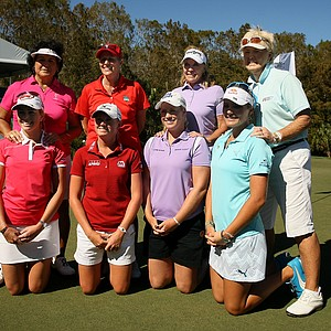 LPGA Players and their Legends Tour partners from left, Nancy Lopez and Paula Creamer, Betsy King and Stacy Lewis, Jan Stephenson and Brittany Lincicome and Pat Bradley with Lexi Thompson during the ISPS Handa Heroes, a nine-hole, made-for-TV charity event.