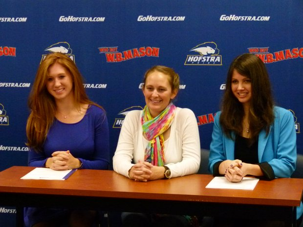 Jacqueline Faldetta (left) and Victoria Snak (right) sign with Hofstra. Head coach Maren Crowley (center) also pictured.