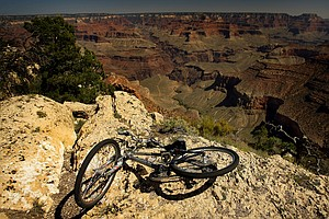 Bike riding along the South Rim of the Grand Canyon National Park in Arizona.