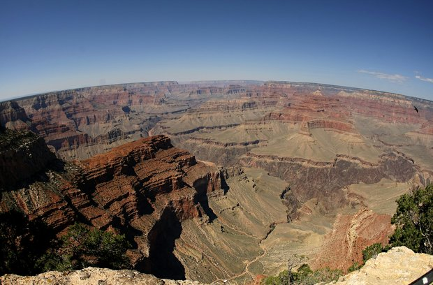 A fish eye view from Powell Point on the South Rim of the Grand Canyon National Park in Arizona.