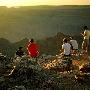 Sunset at Desert View in the Grand Canyon National Park in Arizona.