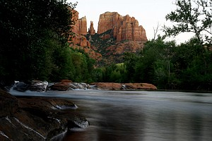 Cathedral Rock view from Crescent Moon Ranch Park on Oak Creek in Sedona, AZ.