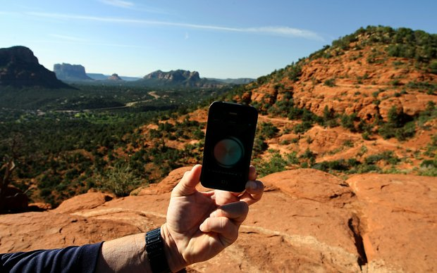 A picture of the compass on the iPhone4 going blank in one of the vortex areas of Airport Mesa in Sedona, AZ.