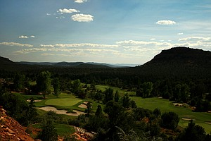 A view of No. 4 green a par-3 at Seven Canyons in Sedona, AZ.