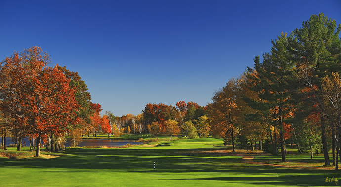 The par-4 3rd hole at SentryWorld in Stevens Point, Wisc.