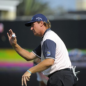 Team Albany's Ernie Els, of South Africa, genstures to the crowd after completing the 18th hole at the two-day Tavistock Cup exhibition golf tournament at Lake Nona Golf & Country Club Tuesday, March 20, 2012, in Orlando, Fla.
