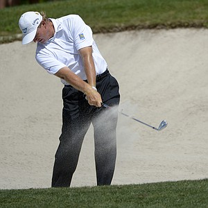 Ernie Els, of South Africa, hits from a bunker on the eighth fairway during the second round of the Arnold Palmer Invitational golf tournament at Bay Hill in Orlando, Fla., Friday, March 23, 2012.