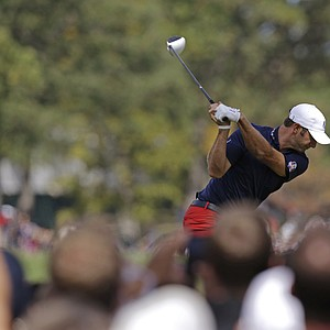 USA's Dustin Johnson hits a drive on the 12th hole during a practice round at the Ryder Cup PGA golf tournament Wednesday, Sept. 26, 2012, at the Medinah Country Club in Medinah, Ill.