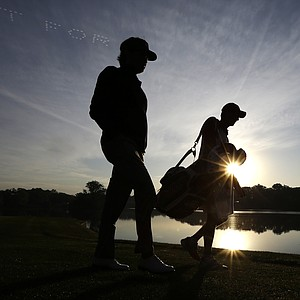 USA's Bubba Watson walks up the second hole during a foursomes match at the Ryder Cup PGA golf tournament Saturday, Sept. 29, 2012, at the Medinah Country Club in Medinah, Ill.