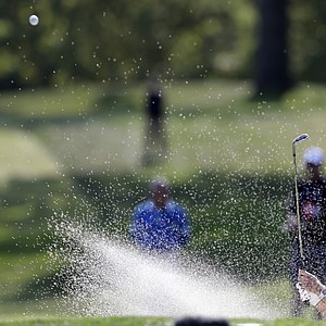 USA's Bubba Watson hits out of a bunker on the seventh hole during a four-ball match at the Ryder Cup PGA golf tournament Friday, Sept. 28, 2012, at the Medinah Country Club in Medinah, Ill.