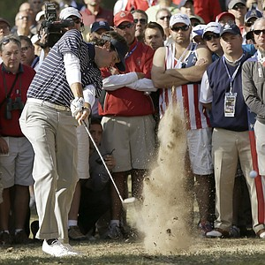 USA's Bubba Watson hits out of the rough on the 12th hole during a foursomes match at the Ryder Cup PGA golf tournament Saturday, Sept. 29, 2012, at the Medinah Country Club in Medinah, Ill.