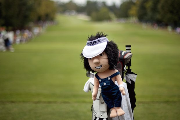 A club head cover with the likeness of Bubba Watson appears on his golf bag before Watson teed off the first hole during the first round of the Tour Championship golf tournament, Thursday, Sept. 20, 2012, in Atlanta.