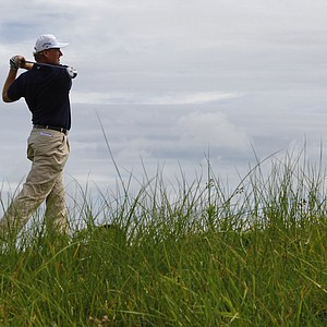 Ernie Els watches his drive during a practice round for the PGA Championship golf tournament on the Ocean Course of the Kiawah Island Golf Resort in Kiawah Island, S.C., Wednesday, Aug. 8, 2012.