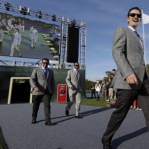 Europe's Justin Rose, USA's Bubba Watson, right, Europe's Lee Westwood, left, and USA's Tiger Woods are introduced during the opening ceremony at the Ryder Cup PGA golf tournament Thursday, Sept. 27, 2012, at the Medinah Country Club in Medinah, Ill.