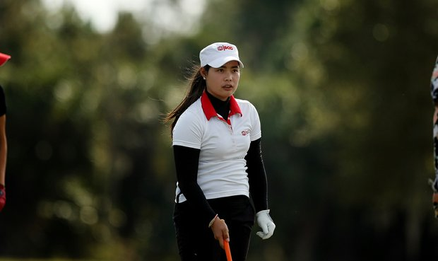 Moriya Jutanugarn of Thailand on the range on Tuesday of LPGA Q-School at LPGA International.