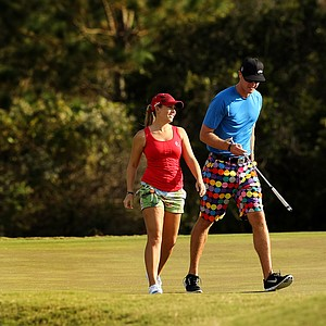Sara Brown and her boyfriend/caddie Derek Radley at No. 17 on the Champions Course on Tuesday of LPGA Q-School at LPGA International.