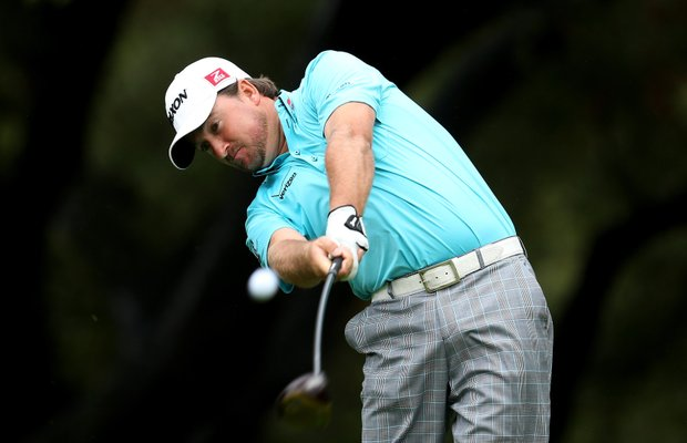 Graeme McDowell hits his tee shot on the sixth hole during the second round of the Tiger Woods World Challenge.
