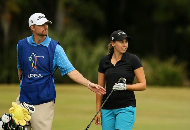 Stephanie Sherlock with her caddie at No. 10 on Legends during Friday of LPGA Q-School.