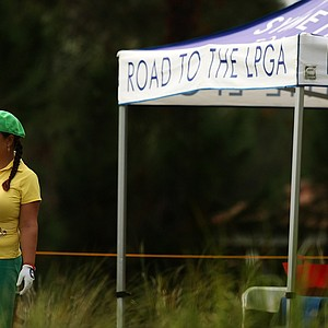 Christina Kim at No. 10 on the Legends course during Friday of LPGA Q-School. Kim started her day in 3rd place.