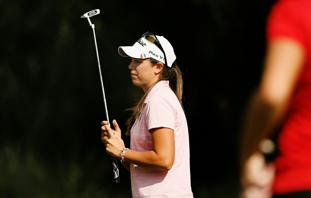 Giulia Molinaro of Italy watches her putt at No 18 on the Legends course during Friday of LPGA Q-School.