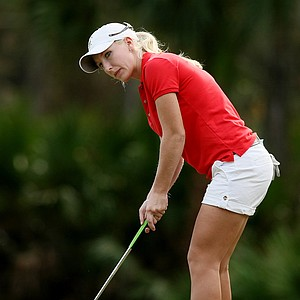 Brooke Pancake watches her putt at No. 18 on Legends course during Friday of LPGA Q-School.