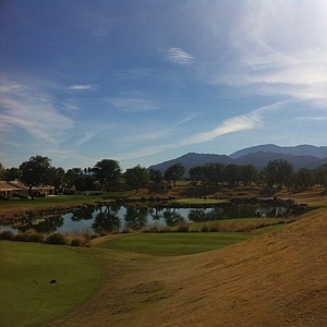 The island green at the 168-yard, par-3 17th hole at PGA West's Stadium Course.