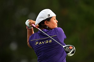 Christina Kim hits her tee shot at No. 8 during Saturday of LPGA Q-School. Kim is T24 after four rounds.