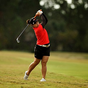 Moriya Jutanugarn hits a shot at No. 4 during Saturday of LPGA Q-School. Jutanugarn is still has a six shot lead.
