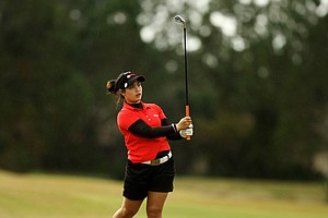 Moriya Jutanugarn hits a shot at No. 4 on Champions course during Saturday of LPGA Q-School.