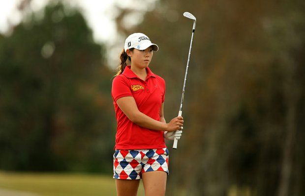 Rebecca Lee-Bentham hits a shot at  No. 4 on Champions course during Saturday of LPGA Q-School.
