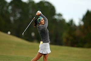 Kim Welch hits a shot at No. 8 on Champions course during Saturday of LPGA Q-School. Welch is T30 after four rounds.