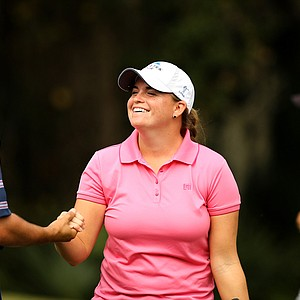 Jackie Barenborg celebrates with her caddie after making birdie at No. 18 on Champions course during Saturday of LPGA Q-School. She failed to advance.