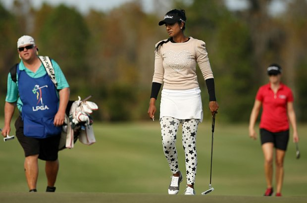 Seema Sadekar walk up to No. 9 on Champions course during Saturday of LPGA Q-School.