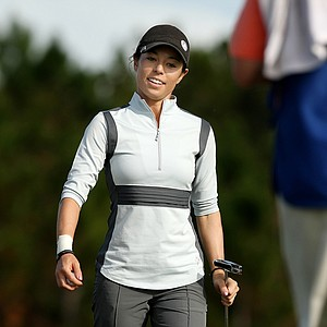 Kelly Jacques of Big Break Ireland from the Golf Channel is all smiles at No. 18 on Champions course during Saturday of LPGA Q-School. Jacques is T6 after four rounds.