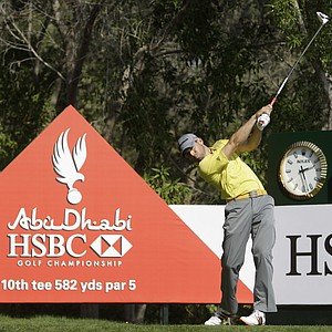 Sergio Garcia from Spain tees off on the 10th hole during the the first round of Abu Dhabi HSBC Golf Championship, Thursday, Jan. 26, 2012 in Abu Dhabi, United Arab Emirates.