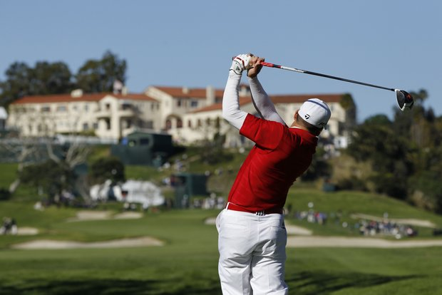 Sergio Garcia plays during the final round of the Northern Trust Open golf tournament at Riviera Country Club in Los Angeles, Thursday, Feb. 16, 2012.