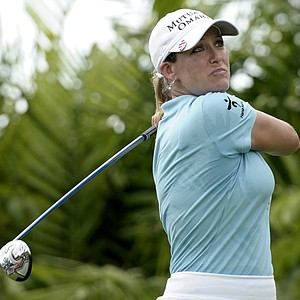 Cristie Kerr of the U.S. tees-off on hole 7 during round 1 of the HSBC Women's Champions golf tournament, Thursday, Feb. 23, 2012, in Singapore.